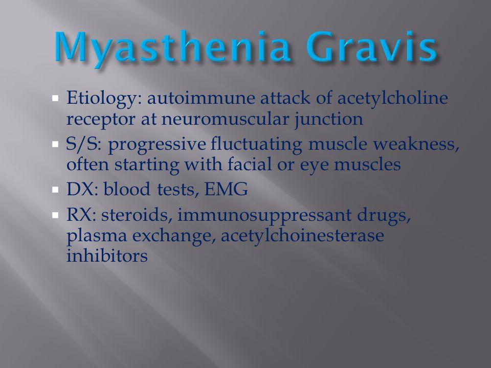 Myasthenia Gravis Etiology: autoimmune attack of acetylcholine receptor at neuromuscular junction.