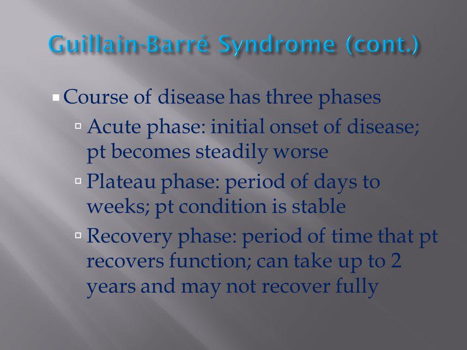Guillain-Barré Syndrome (cont.)