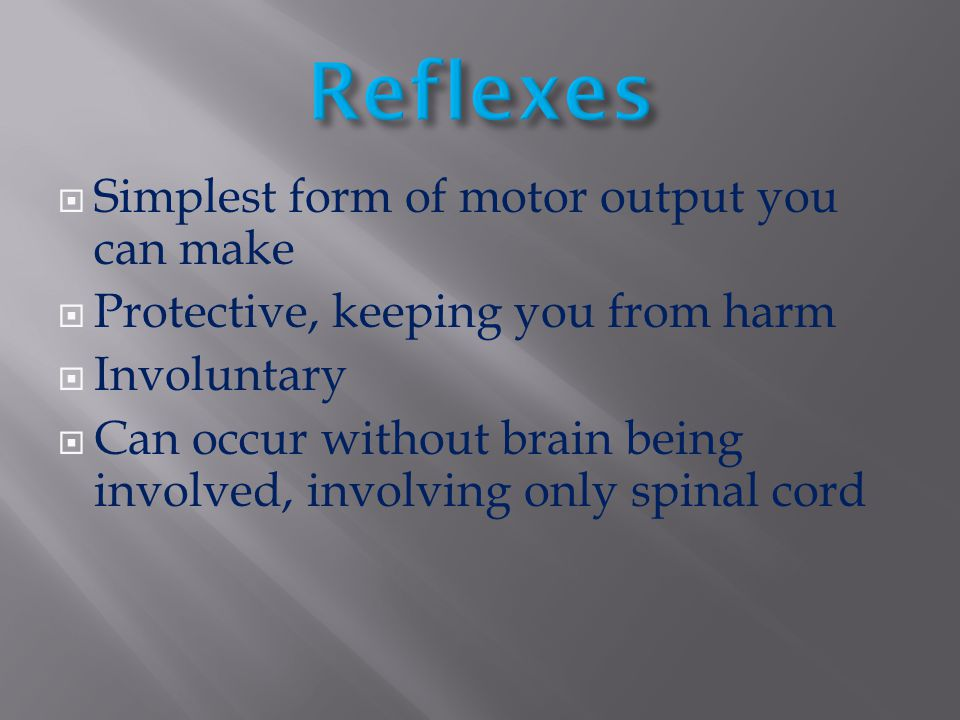 Reflexes Simplest form of motor output you can make