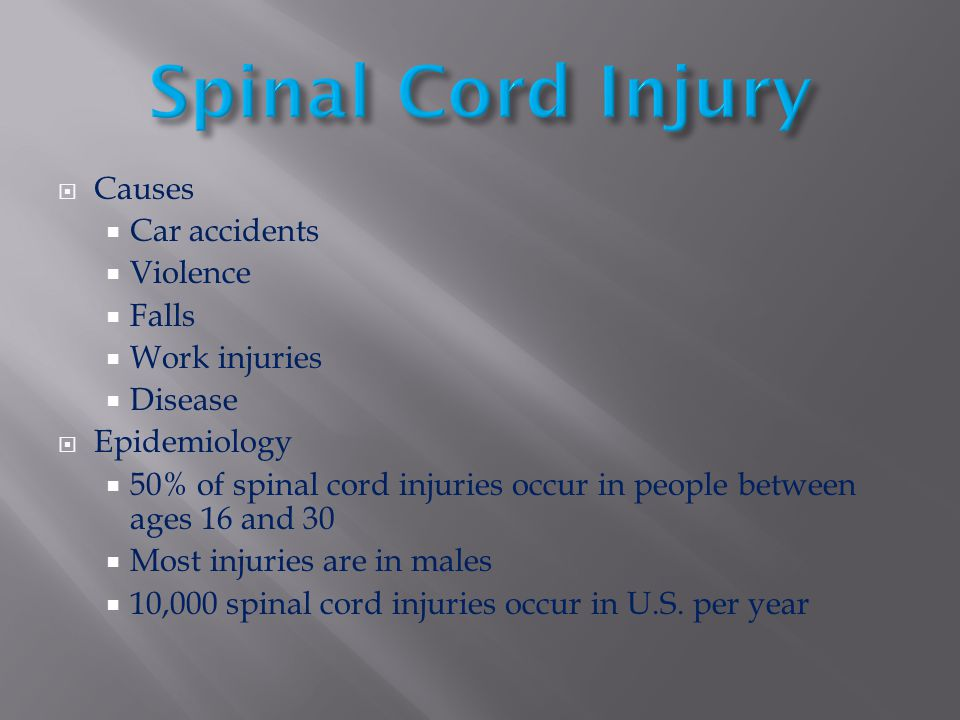 Spinal Cord Injury Causes Car accidents Violence Falls Work injuries
