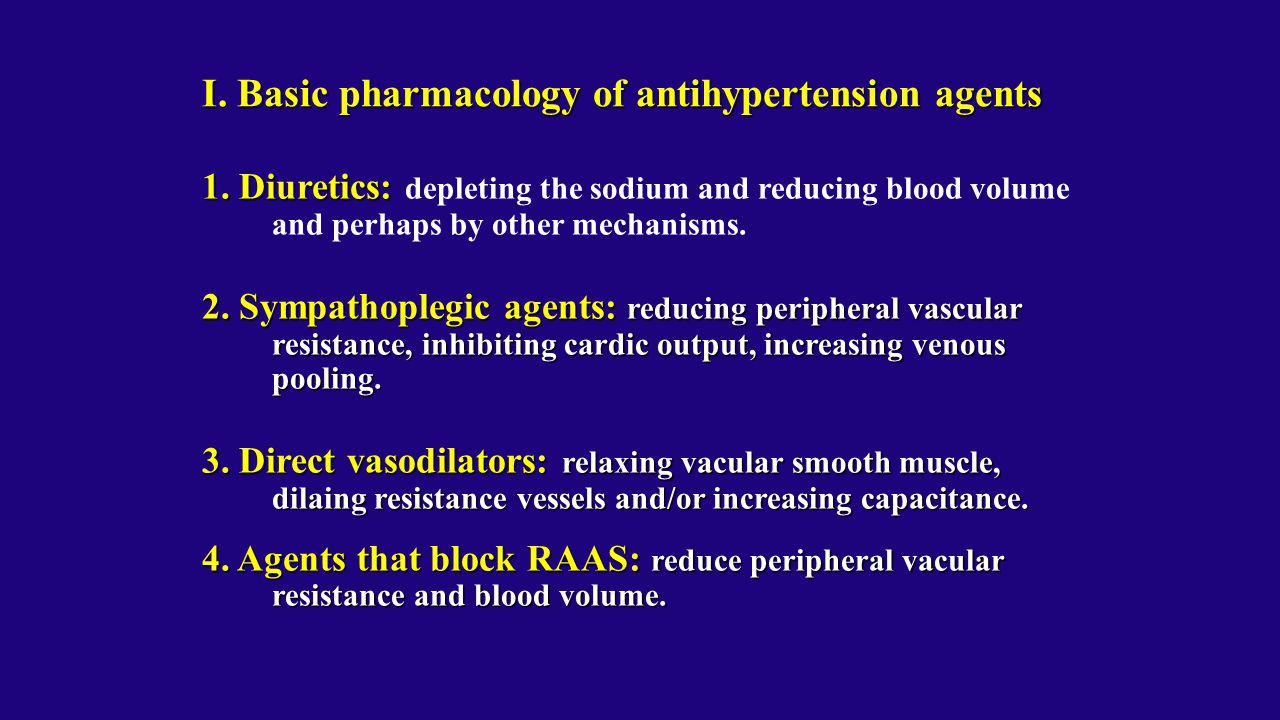 I. Basic pharmacology of antihypertension agents