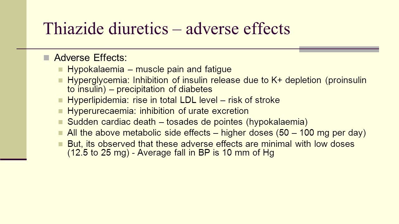 Thiazide diuretics – adverse effects