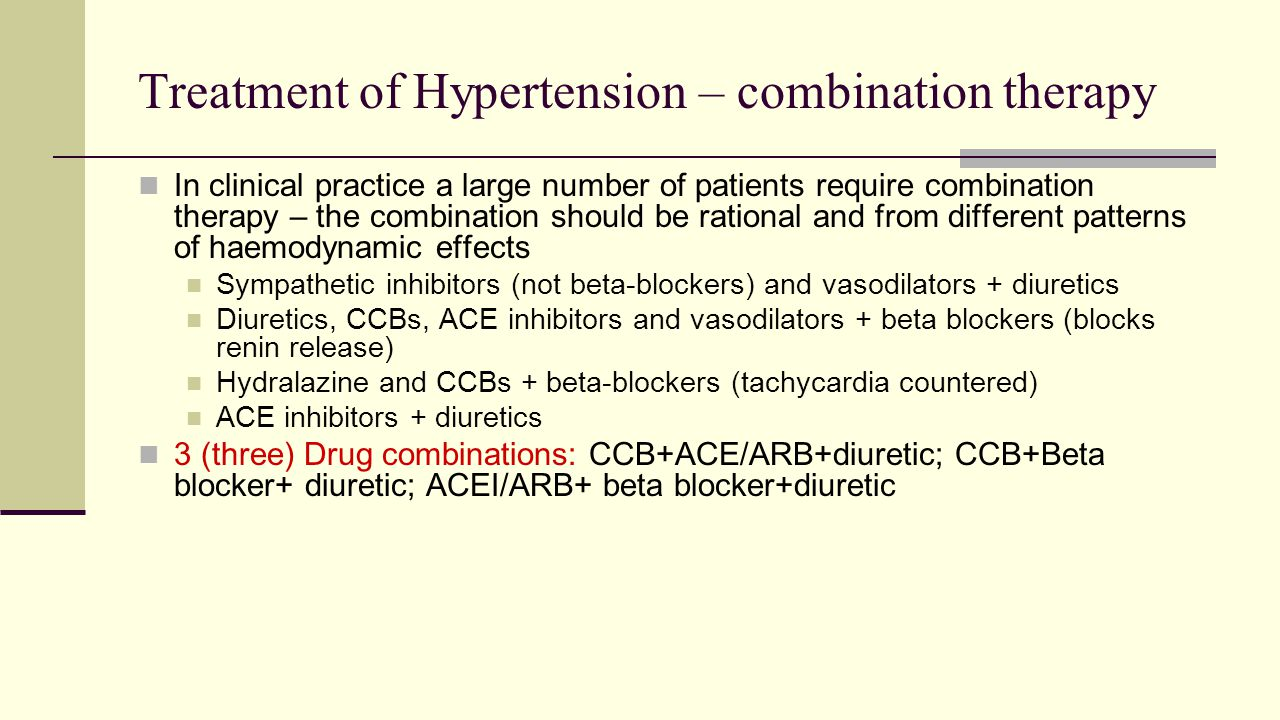 Treatment of Hypertension – combination therapy