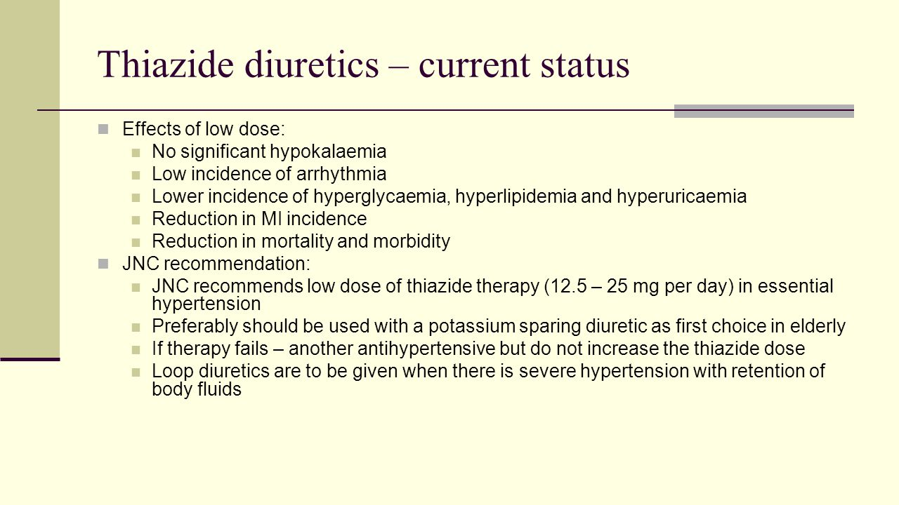 Thiazide diuretics – current status