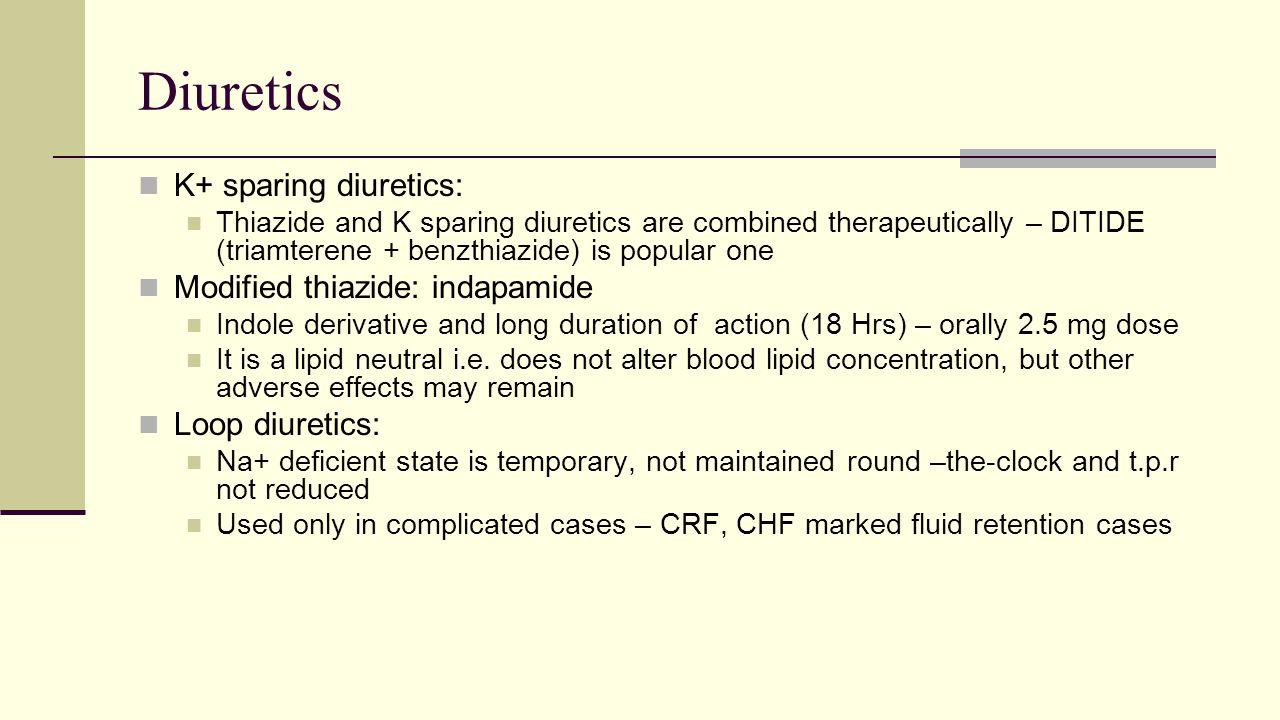 Diuretics K+ sparing diuretics: Modified thiazide: indapamide