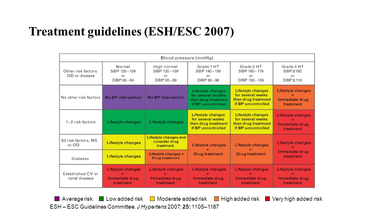 Treatment guidelines (ESH/ESC 2007)