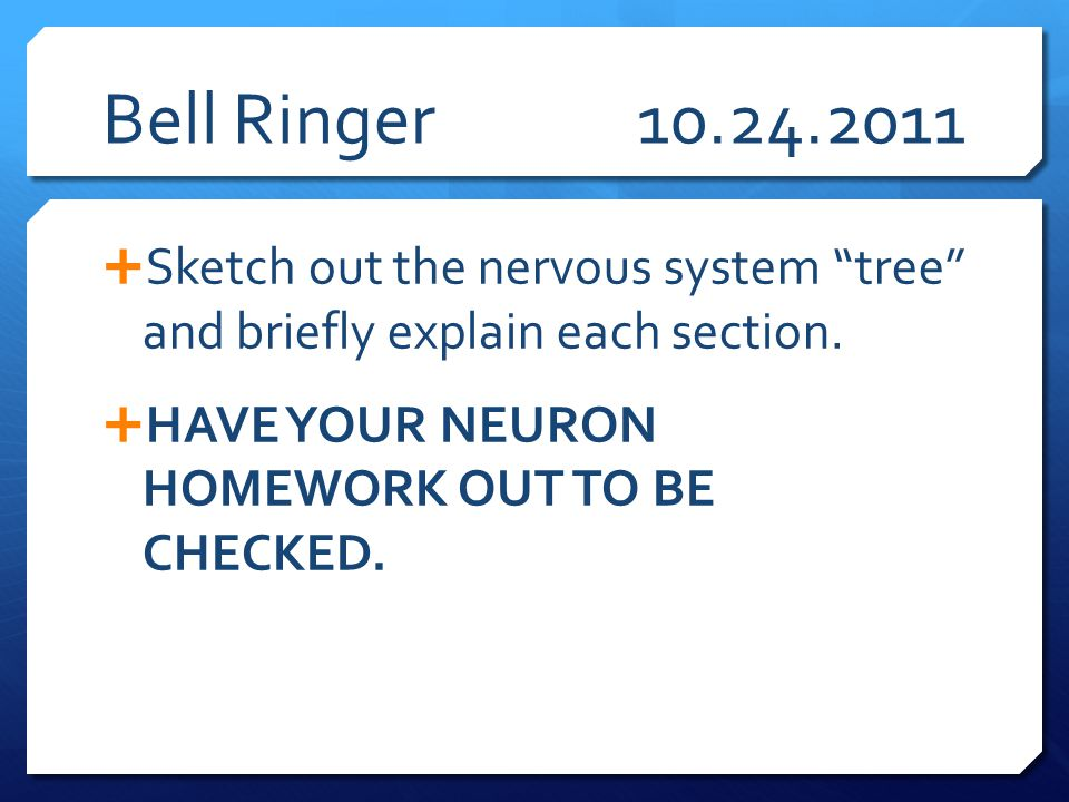 Bell Ringer 10.24.2011 Sketch out the nervous system tree and briefly explain each section.