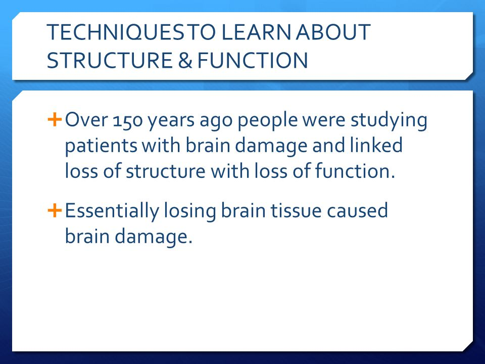 TECHNIQUES TO LEARN ABOUT STRUCTURE & FUNCTION