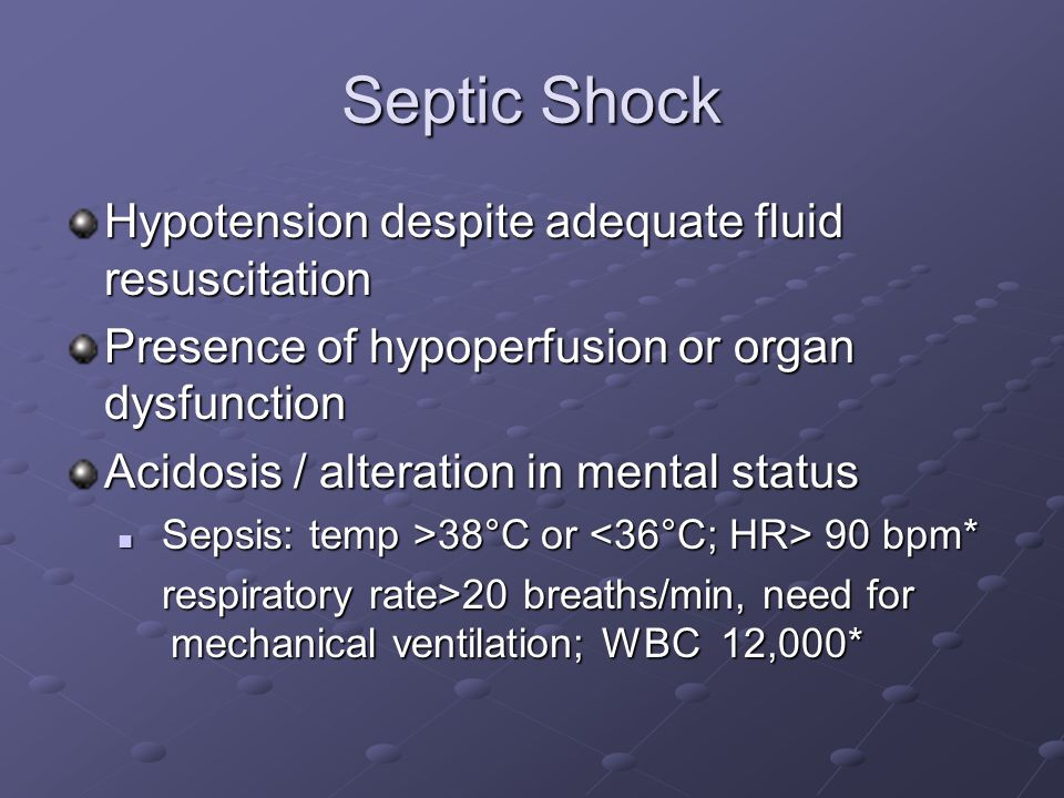 Septic Shock Hypotension despite adequate fluid resuscitation