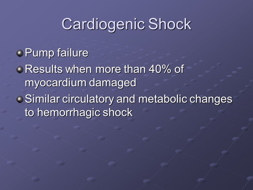 Cardiogenic Shock Pump failure
