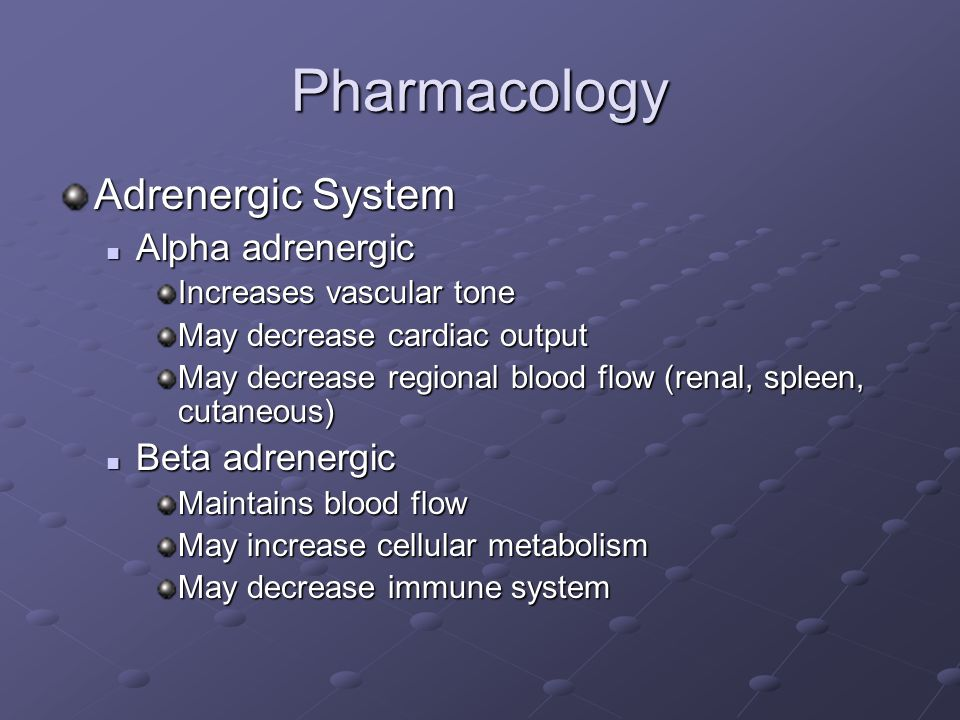 Pharmacology Adrenergic System Alpha adrenergic Beta adrenergic