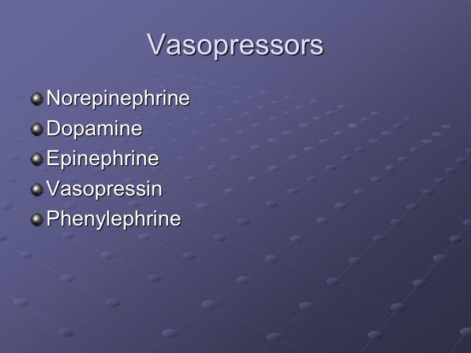 Vasopressors Norepinephrine Dopamine Epinephrine Vasopressin