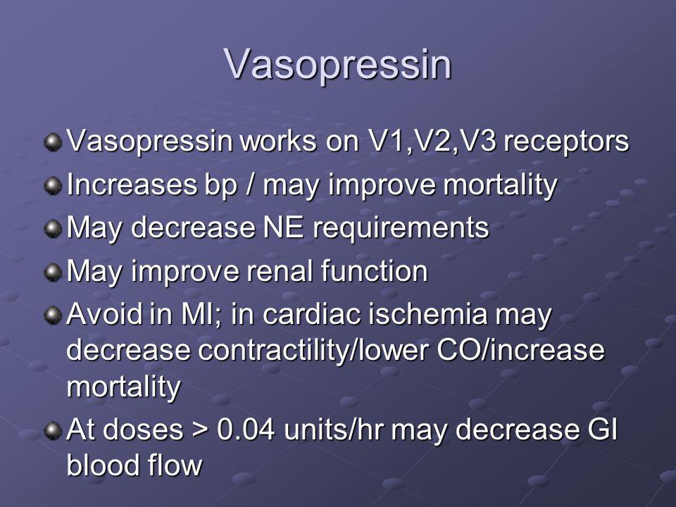 Vasopressin Vasopressin works on V1,V2,V3 receptors