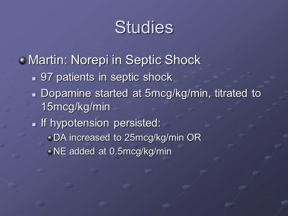Studies Martin: Norepi in Septic Shock 97 patients in septic shock