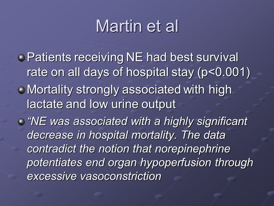 Martin et al Patients receiving NE had best survival rate on all days of hospital stay (p<0.001)