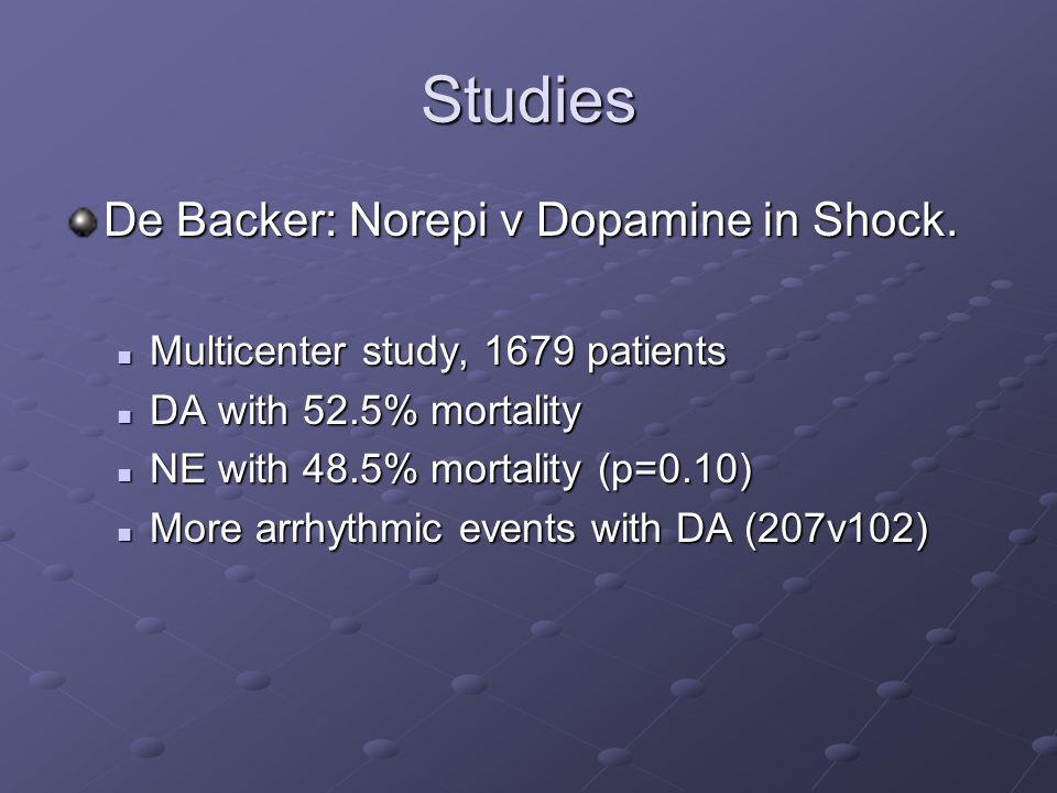 Studies De Backer: Norepi v Dopamine in Shock.