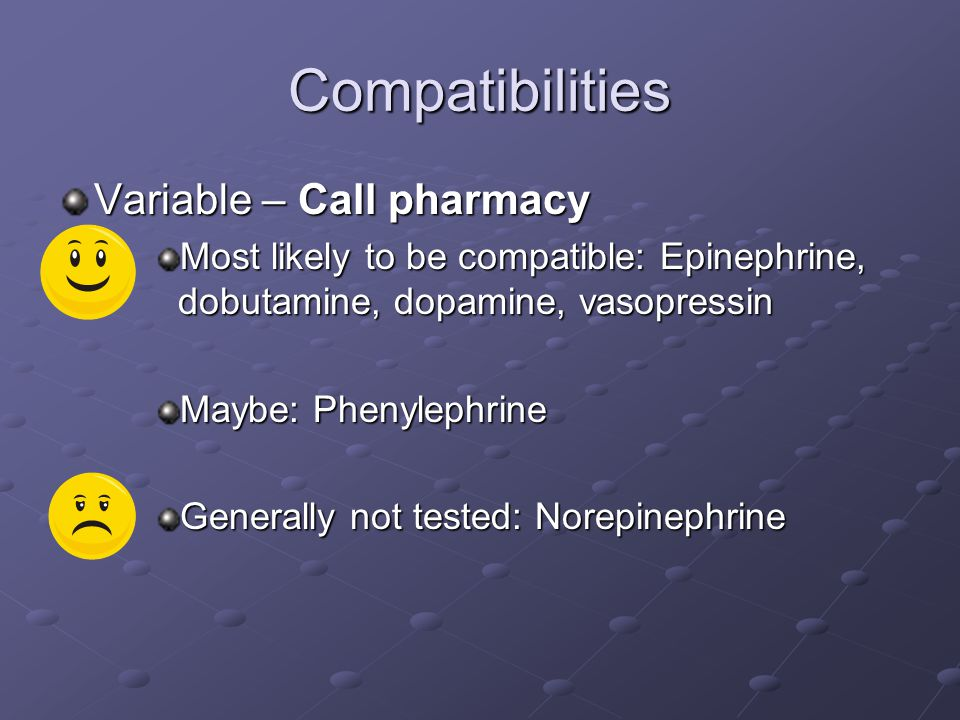 Compatibilities Variable – Call pharmacy