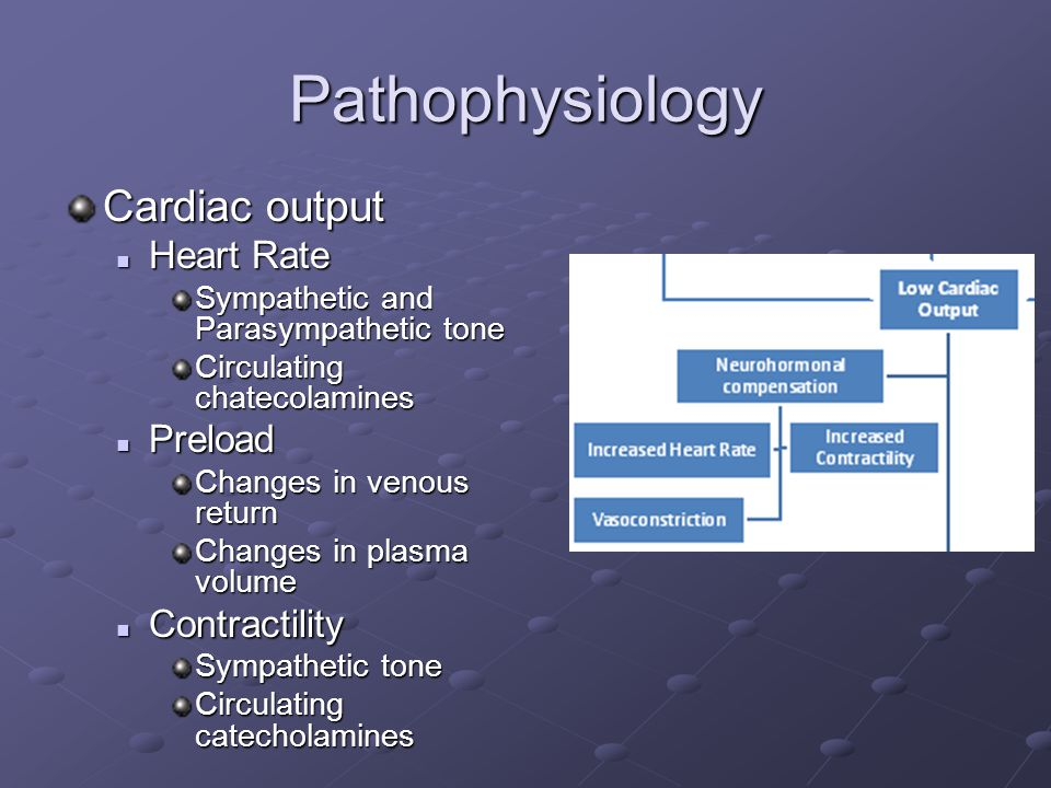 Pathophysiology Cardiac output Heart Rate Preload Contractility