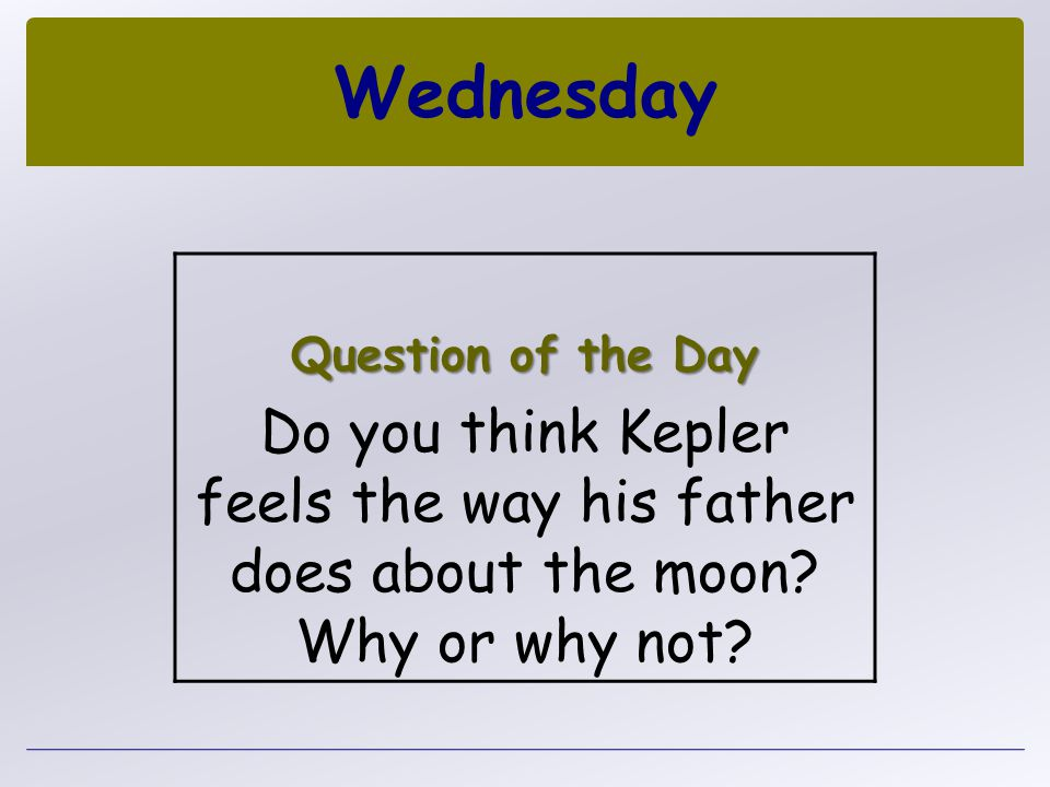 Wednesday Question of the Day. Do you think Kepler feels the way his father does about the moon.