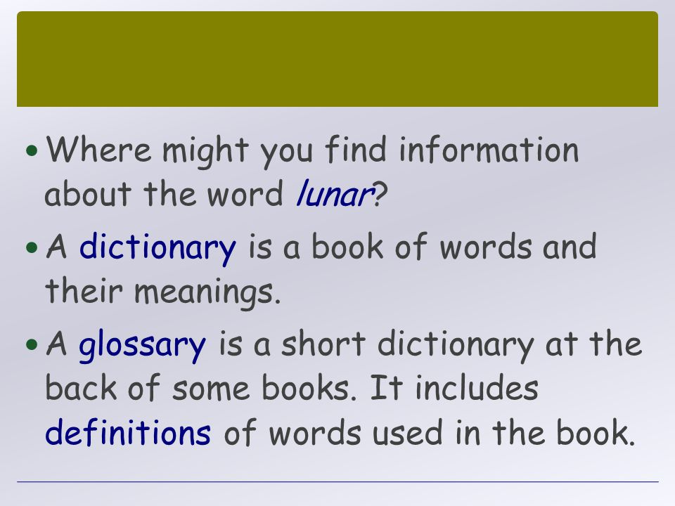 Where might you find information about the word lunar