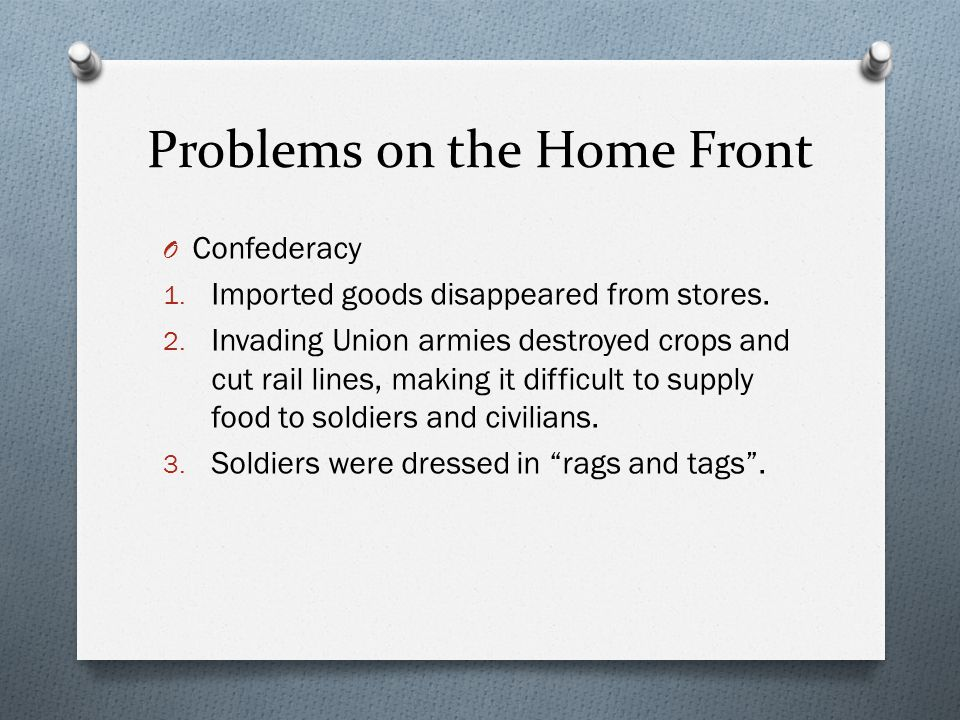 Problems on the Home Front