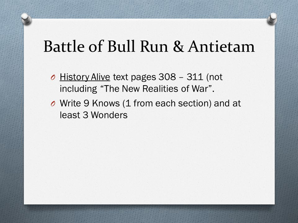 Battle of Bull Run & Antietam