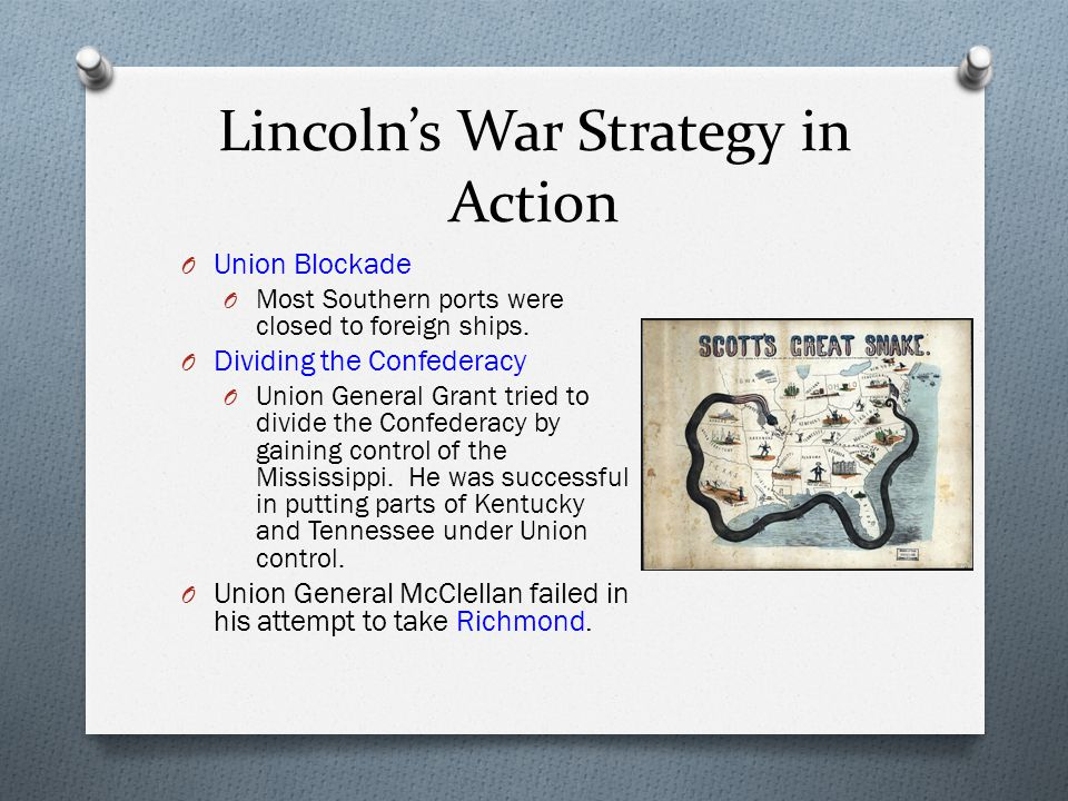 Lincoln's War Strategy in Action