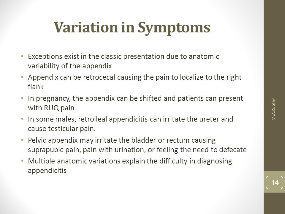 Variation in Symptoms Exceptions exist in the classic presentation due to anatomic variability of the appendix.