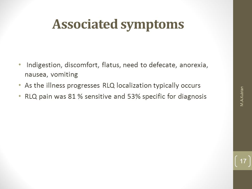 Associated symptoms Indigestion, discomfort, flatus, need to defecate, anorexia, nausea, vomiting.