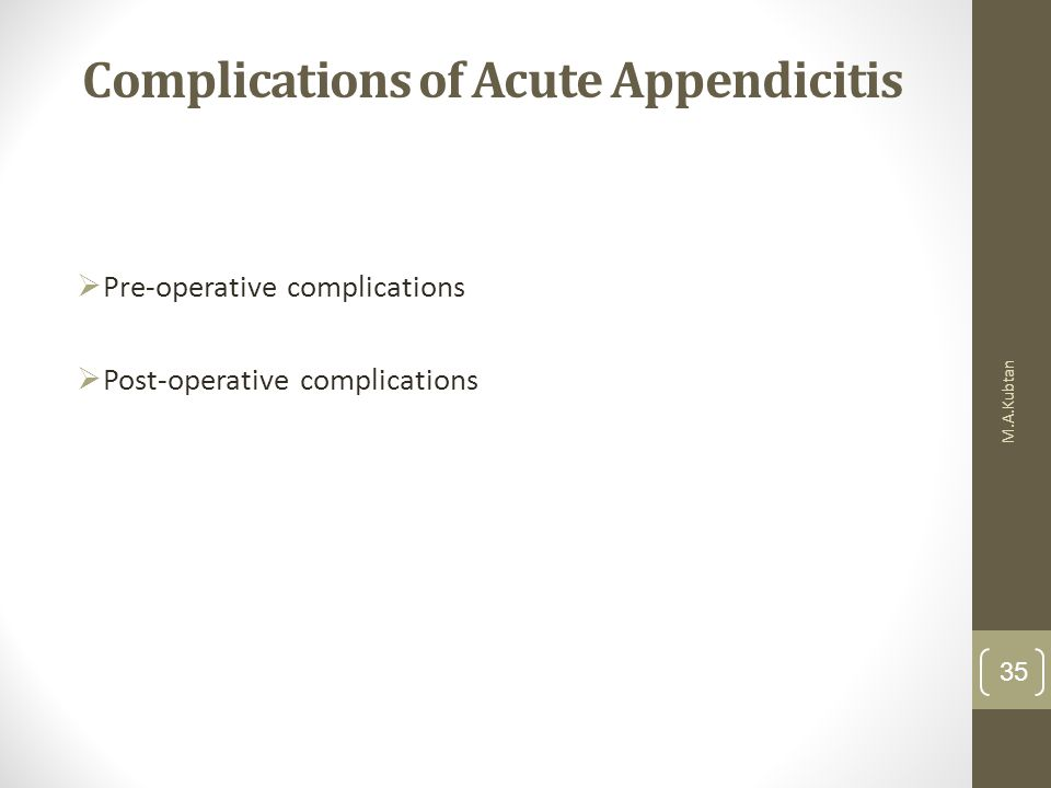 Complications of Acute Appendicitis