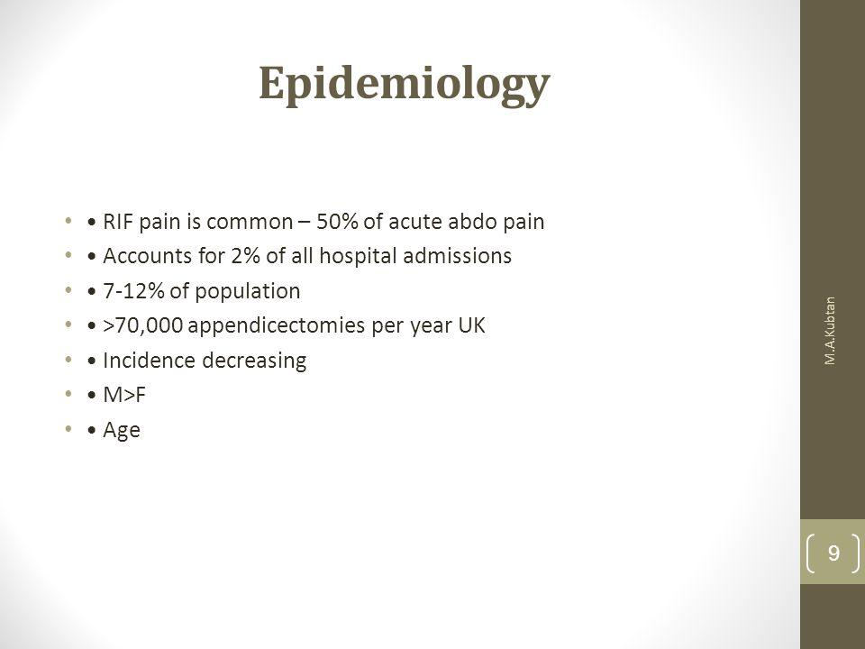 Epidemiology • RIF pain is common – 50% of acute abdo pain