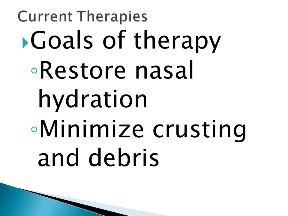 Restore nasal hydration Minimize crusting and debris