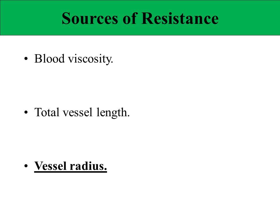 Sources of Resistance • Blood viscosity. • Total vessel length.