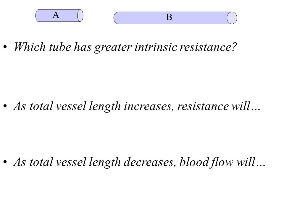 • Which tube has greater intrinsic resistance