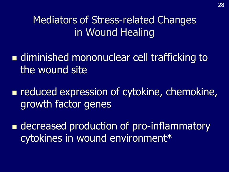 Mediators of Stress-related Changes in Wound Healing