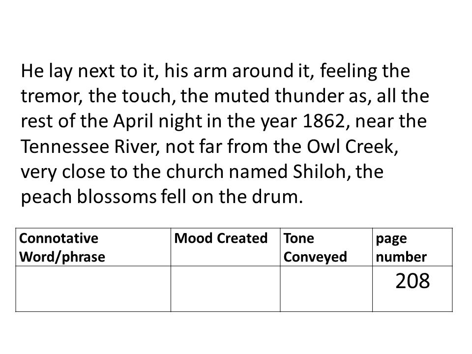 He lay next to it, his arm around it, feeling the tremor, the touch, the muted thunder as, all the rest of the April night in the year 1862, near the Tennessee River, not far from the Owl Creek, very close to the church named Shiloh, the peach blossoms fell on the drum.