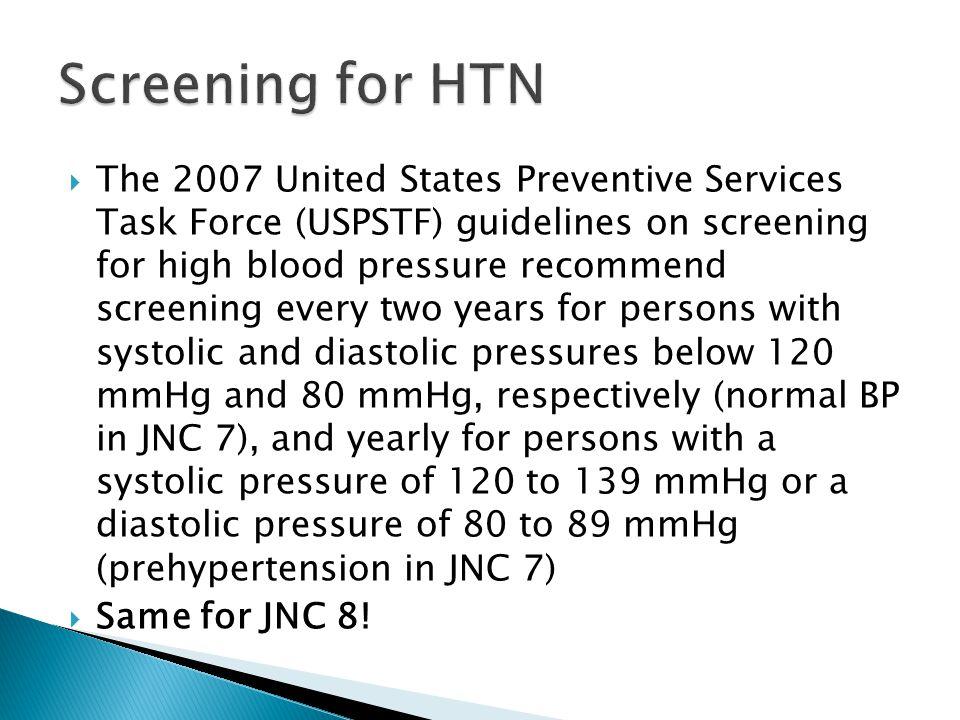 Screening for HTN