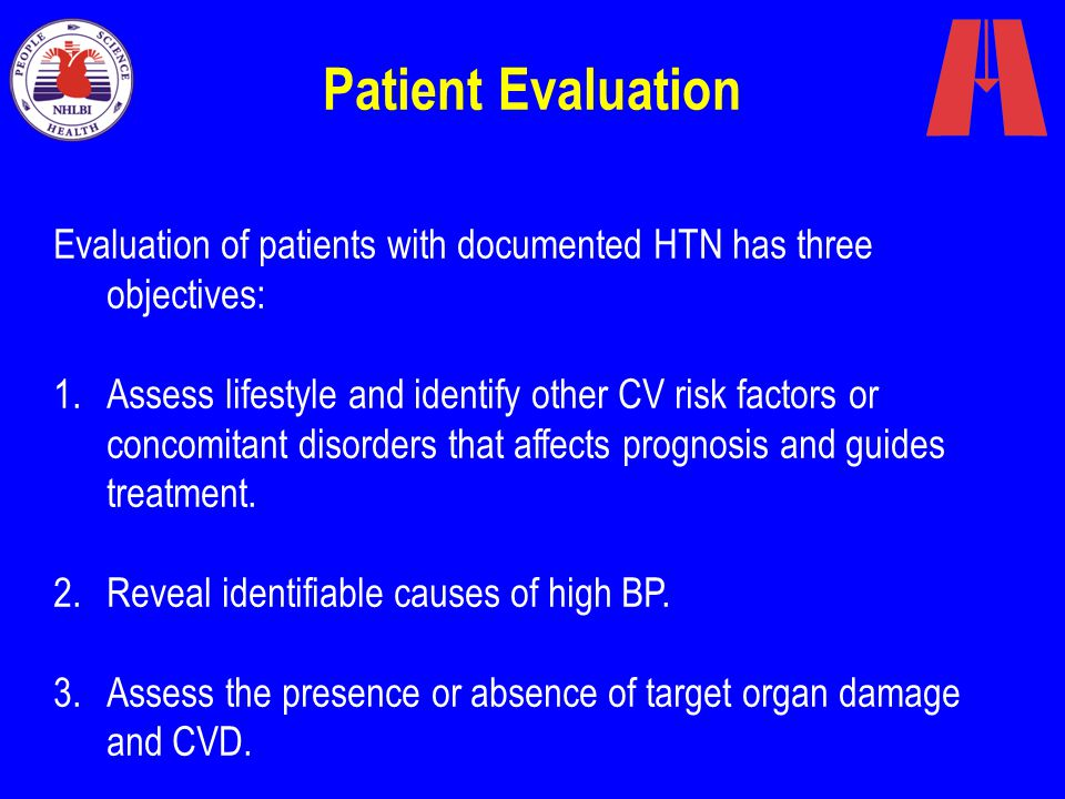 Patient Evaluation Evaluation of patients with documented HTN has three objectives: