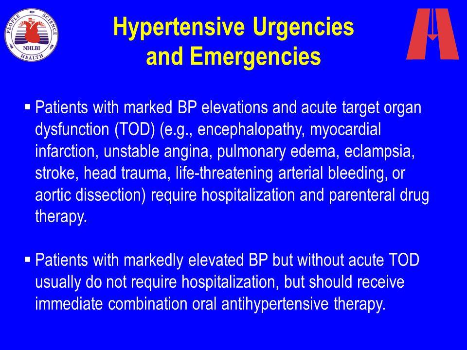 Hypertensive Urgencies and Emergencies