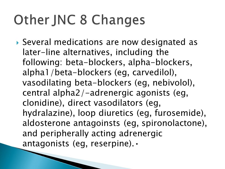 Other JNC 8 Changes