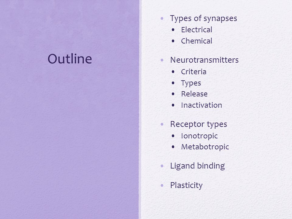 Outline Types of synapses Neurotransmitters Receptor types
