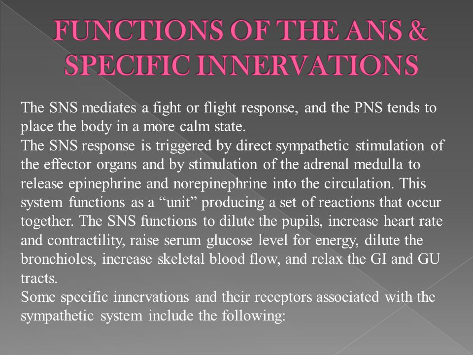 FUNCTIONS OF THE ANS & SPECIFIC INNERVATIONS