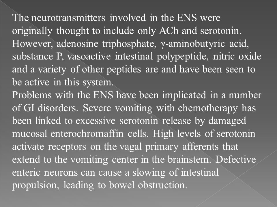The neurotransmitters involved in the ENS were originally thought to include only ACh and serotonin. However, adenosine triphosphate, γ-aminobutyric acid, substance P, vasoactive intestinal polypeptide, nitric oxide and a variety of other peptides are and have been seen to be active in this system.
