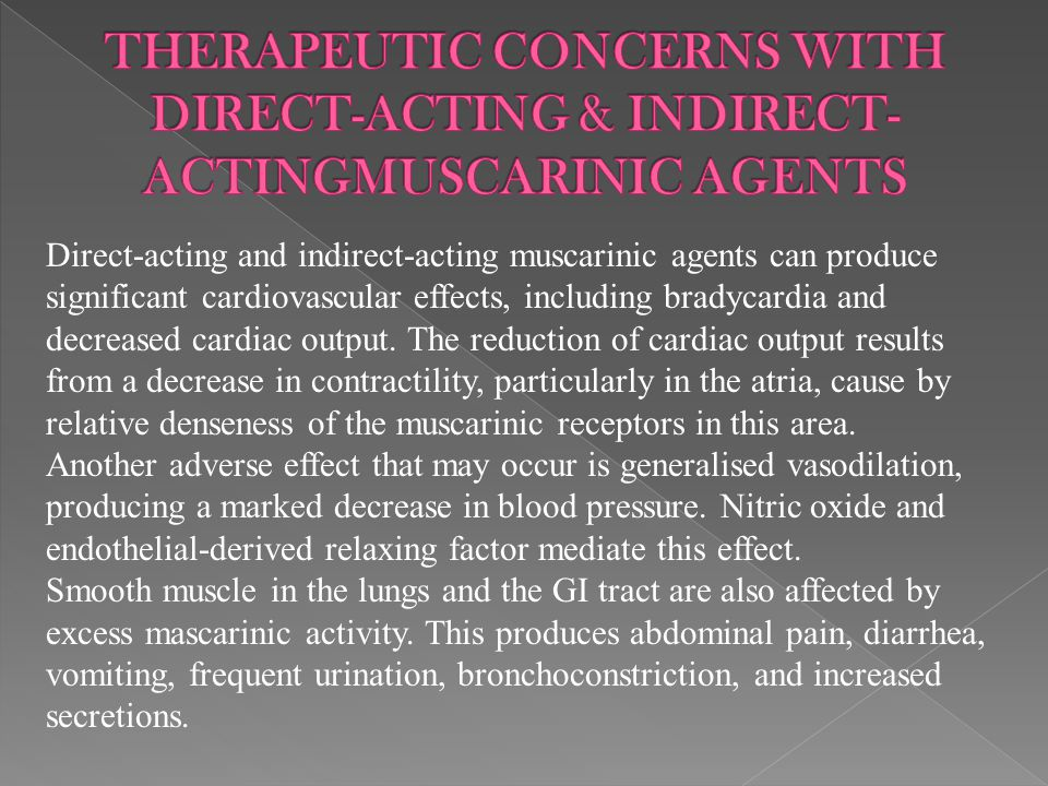 THERAPEUTIC CONCERNS WITH DIRECT-ACTING & INDIRECT-ACTINGMUSCARINIC AGENTS