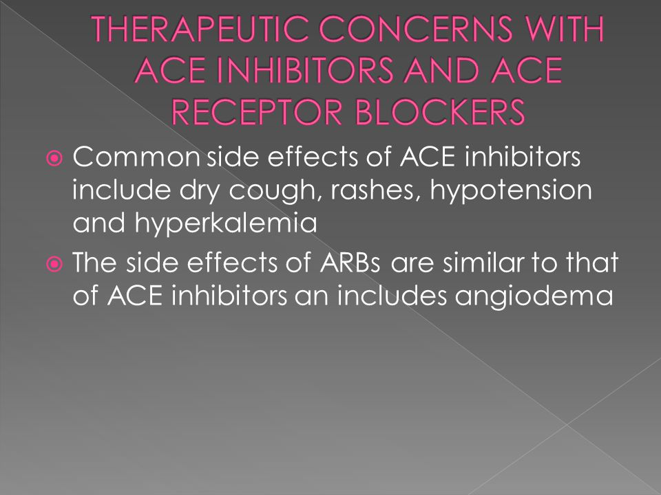 THERAPEUTIC CONCERNS WITH ACE INHIBITORS AND ACE RECEPTOR BLOCKERS