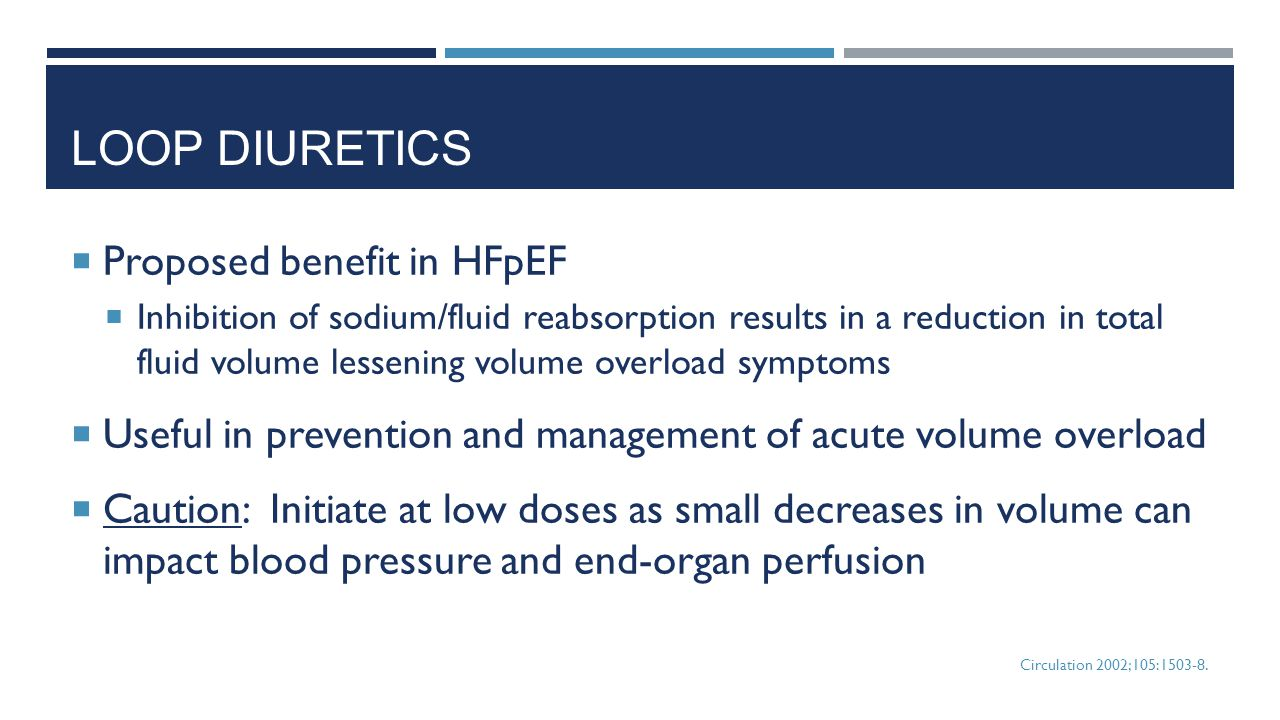 Loop Diuretics Proposed benefit in HFpEF