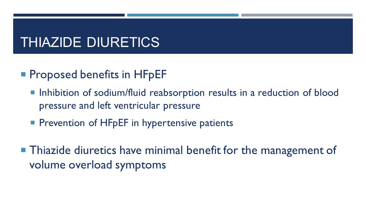 Thiazide Diuretics Proposed benefits in HFpEF