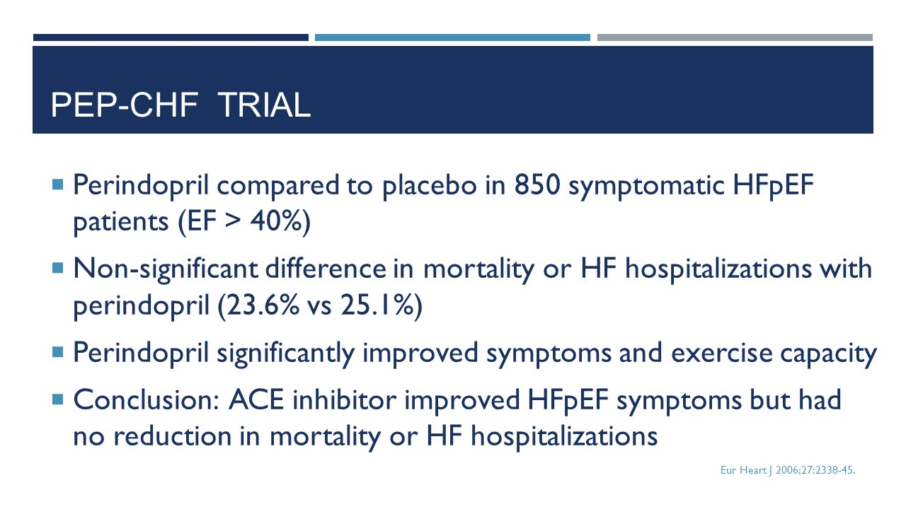 PEP-CHF trial Perindopril compared to placebo in 850 symptomatic HFpEF patients (EF > 40%)