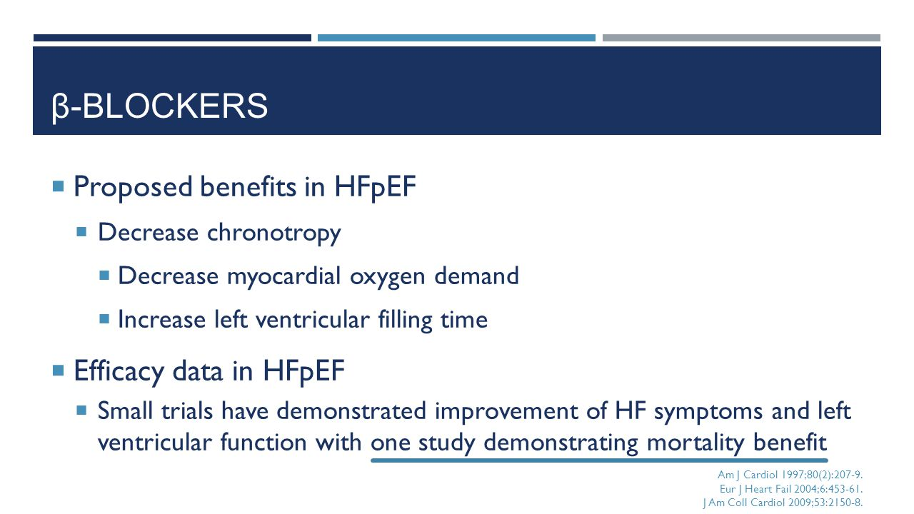 β-Blockers Proposed benefits in HFpEF Efficacy data in HFpEF