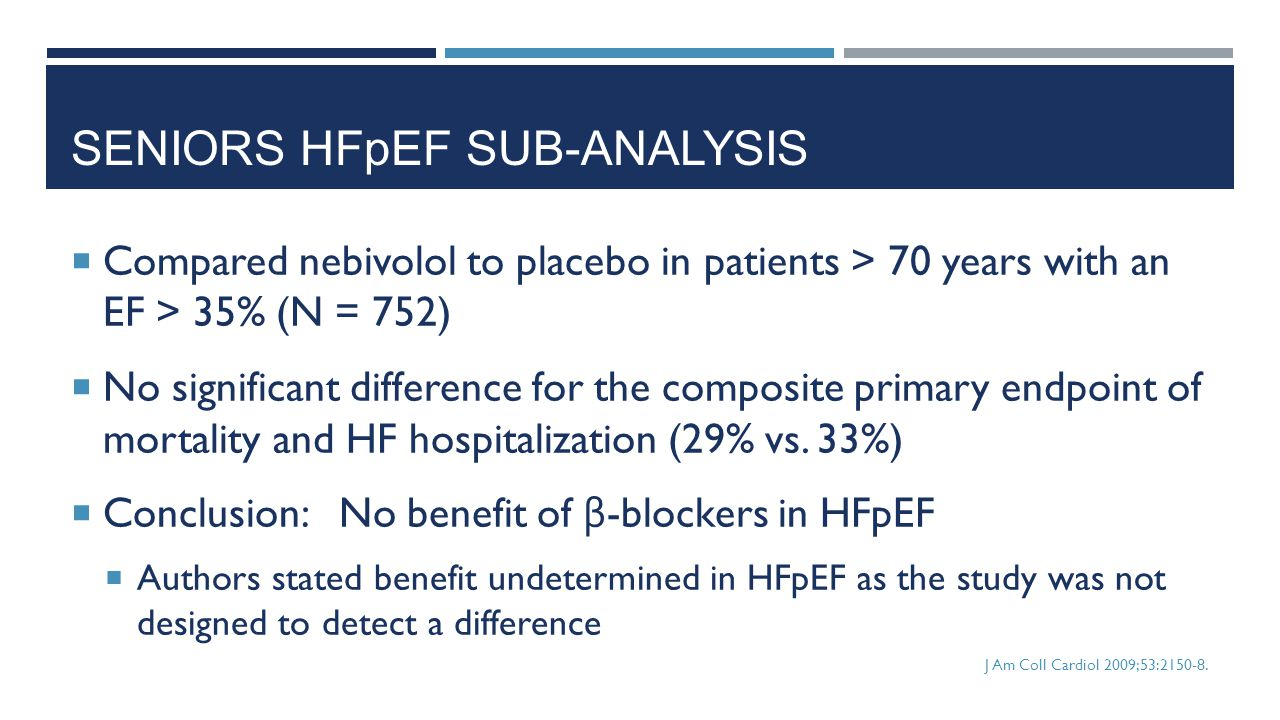 SENIORS HFpEF SUB-ANALYSIS
